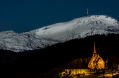 Moonlight over a snowy mountain in Tingvoll, Norway Snowy Mountains, Moonlight, Norway, Mount Everest, Country, Nature, Pictures, Travel, Photos