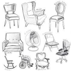 480 Likes, 8 Kommentare - Printmaker / Illustrator / Autor (Mirka Hokkanen) auf Instagra . Interior Design Sketches, Industrial Design Sketch, Sketch Design, Drawing Interior, Drawing Furniture, Art Furniture, Chair Drawing, Furniture Chairs, Sketchbook Assignments