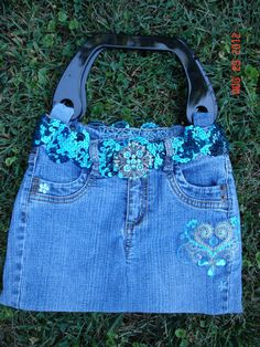 Upcycled Purse  Aqua by Littlepinkswing on Etsy, $27.95