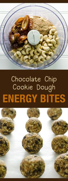 Chocolate Chip Cookie Dough Energy Bites - a healthy snack or dessert - easy recipe - vegan and gluten free | http://VeggiePrimer.com