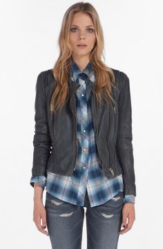 maje Lambskin Leather Jacket   $549   sale price   Boxing Week for Her   womens blue leather jacket   style   fashion   trends   wantering http://www.wantering.com/womens-clothing-item/maje-lambskin-leather-jacket/agqoC/
