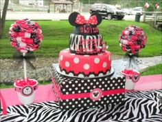"Photo 8 of 24: Minnie Mouse and Zebra Print / Birthday ""Alaina's Zebra & Pink Minnie Mouse 1st Birthday"" 