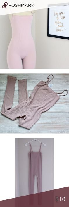 Forever 21 ribbed body Jumpsuit Forever 21 ribbed body jumpsuit in color blush pink, perfect for that Kylie look, very stretchy , new without tags, measurements laying flat  arm pit to arm pit 12'   Chest to crotch 17' inseam 27' full length 44'⭐️Bundle&Save⭐️ Forever 21 Pants Jumpsuits & Rompers