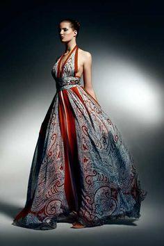 patterned halter ballgown, Zuhair Murad