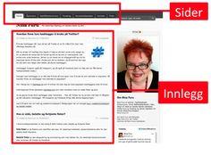 Forskjellen på innlegg og sider i en blogg