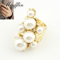 Punk Fashion Rings for Women Big Simulated Pearl Jewelry Ring Anillos Bague Femme