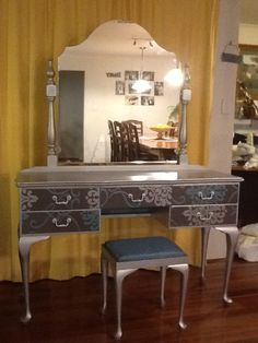 Queen Anne style refurbished dressing table and stool silver
