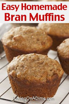Easy Homemade Bran Muffins Recipe - Amish Bran Muffins - Living on a Dime To Grow Rich This easy homemade bran muffins recipe makes muffins that are so moist and delicious you won't be Donut Muffins, Rasin Bran Muffins, All Bran Muffins, Muffins Blueberry, Bran Muffins With Raisins, Simple Muffin Recipe, Healthy Muffin Recipes, Healthy Muffins, 6 Week Bran Muffin Recipe