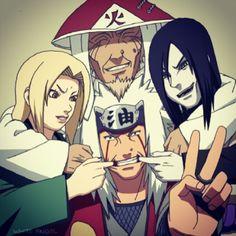 #Naruto - Tsunade, Jiraiya, Orochimaru, and Hiruzen Sarutobi (The Third Hokage)
