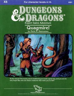 X6 Quagmire! (Basic) | Book cover and interior art for Dungeons and Dragons Basic and Expert Editions - Dungeons & Dragons, D&D, DND, Basic, Expert, 1st Edition, 1st Ed., 1.0, 1E, OSRIC, OSR, Roleplaying Game, Role Playing Game, RPG, Wizards of the Coast, WotC, TSR Inc. | Create your own roleplaying game books w/ RPG Bard: www.rpgbard.com | Not Trusty Sword art: click artwork for source