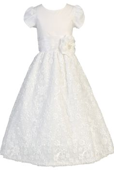 Embroidered Satin Ribbon Flowers on White Tulle First Holy Communion Dress (Girls Size 5 to 12)