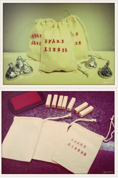 """What you will need…        Small burlap bags      Alphabet rubber stamp kit      Red ink pad      Hershey's kisses    Instructions        Using the rubber stamp kit and red ink, stamp the phrase """"Spare Kisses"""" directly onto the burlap bags.      Fill bags with Hershey's kisses and enjoy!"""