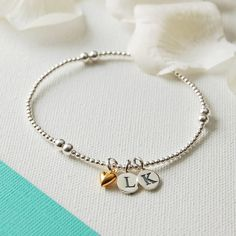Personalised Silver Bead Bracelet With Tiny Gold Heart Charm �30.00 - Bracelets and Bangles - Sterling Silver Bracelets Buy, Engraved Silver Jewellery, Personalised Mens, Womens Gifts, Online, UK.
