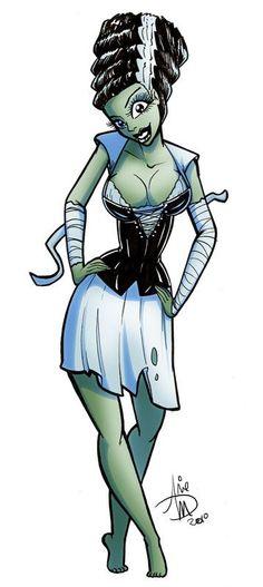 Bride of Frankenstein Cartoon | Bride of Frankenstein - Horror Films