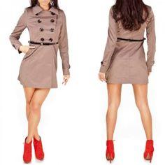 Sexy Voyelles Luxus Damen Mantel Trenchcoat Kurzmantel in 5 Farben Top-Angebote für « Trenchcoat Damen