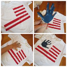 Kids can get their hands dirty with this Fourth of July or Memorial Day T-shirt craft. Summer Crafts, Holiday Crafts, Kids Crafts, Holiday Fun, Holiday Ideas, Summer Fun, Festive, Santa Crafts, Daycare Crafts