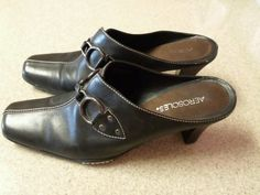 Womens Aerosoles Cinch Worm Ladies Size 10M Black Leather Mules Heels Shoes in Clothing, Shoes & Accessories   eBay