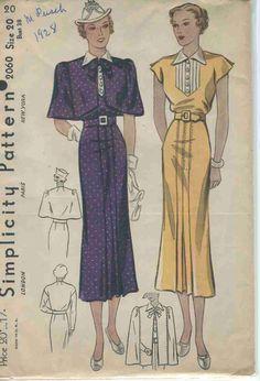 Vintage Sewing Pattern Simplicity # 2060 ERA: 1930s SKU - 70082 -
