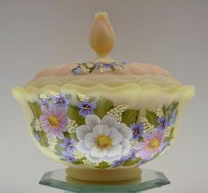 Fenton OGEE Candy 2pc YELLOW BURMESE SATIN Wildflower Collage OOAK FreeUSAshp