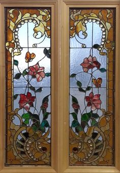"""Pr. Antique American Stained and Jeweled Floral Windows from St. Paul, Mn. 16.25"""" x 48"""" ea. fid14058a&b"""