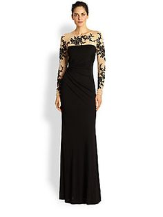 David Meister Embroidered Illusion Gown 568.00 ...The mesh yoke and long sleeves of this elegant design are embroidered with a beautifully lacy floral motif.
