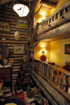 Very rustic bunk room in this kitschy reclaimed log home from Double D Ranch in Montana. Architect Portfolio | Miller Architects