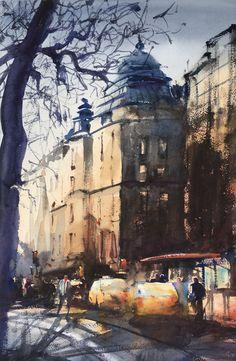 Odengatan May Stockholm, watercolor Stefan Gadnell Watercolor City, Watercolor Paintings, Watercolors, City Drawing, Painting & Drawing, Magic City, Ancient Symbols, Light Art, City Lights