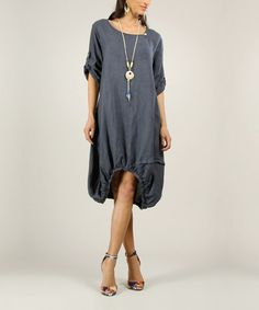 Look what I found on #zulily! Navy Linen Ruched Dress by 100% LIN #zulilyfinds