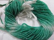 "Natural Green onyx Multy shaded Rondelle Beads Facited 3.50 mm - 14"" inches"