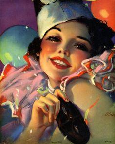 Vintage Rare Art Deco Vibrant Pin-Up Print Red Lipped Carnival Girl Fine+ Illustrations Vintage, Illustrations Posters, Illustration Art, Rolf Armstrong, Vintage Images, Vintage Posters, Vintage Art, Vintage Ladies, Vintage Clown