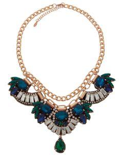 Katy Jewelled Montana Necklace | Blue | Accessorize
