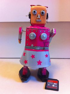 Rare Tin Toy Robot Metal Dancing Girl Pink Lady by xxeightiesxx, $29.99