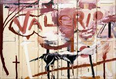 "Julian Schnabel Valerio (2 o'clock, July 23rd)  oil on doors, 244 x 96"", 1985"
