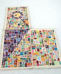 tickertape owl quilt in process