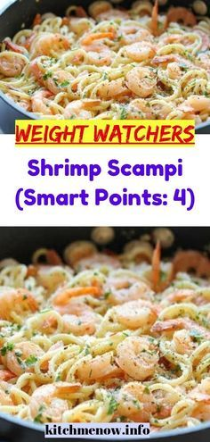 """Shrimp Scampi (Smart Points: MEALS """"No one knows Weight loss meals like we do"""" - With these recipes it's now easier """"and healthy tastier"""" than ever before to stay on track with your HEALTHY goals. Weight Watcher Desserts, Weight Watcher Dinners, Weight Loss Meals, Weight Watchers Shrimp, Plats Weight Watchers, Weight Watchers Meal Plans, Weight Watcher Shrimp Scampi Recipe, Ww Recipes, Healthy Dinner Recipes"""