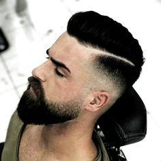 Short Hair Beard Fade - Trendy Short Hair with Beards - Cool Mens Short Haircut and Hairstyles with Beard Styles - Short, Long, Full, Thick Beards Bald Head With Beard, Undercut With Beard, Short Hair With Beard, Thick Beard, Beard Fade, Hair And Beard Styles, Short Hair Cuts, Short Hair Styles, Trimmed Beard Styles