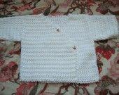 Cache-coeur pour bébé - heel mooie gehaakte baby pull - ideaal voor doop of cadeau