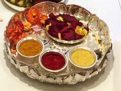 Haldi Kumkum Desi Wedding Decor, Wedding Ideas, Indian Baby Showers, Thali Decoration Ideas, Silver Pooja Items, Pooja Room Door Design, Baby Shower Pictures, Silver Furniture, Ethnic Home Decor
