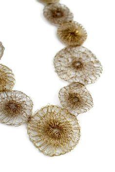 Crochet Necklace Crochet wire Jewelry Gold by LizzyLizano on Etsy, $116.00