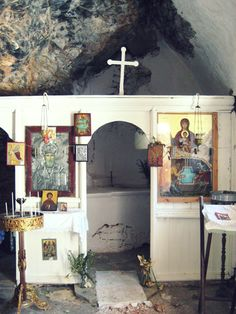 Cave Shrine in Crete Island, Greece Greece Tours, Crete Island, Religious Architecture, Religious Images, Crete Greece, Contemporary Interior Design, Orthodox Icons, Place Of Worship, Its A Wonderful Life