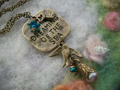 Bronze Charm Necklace Dreaming of the Sea Mermaid by GratefulBeads, $20.00