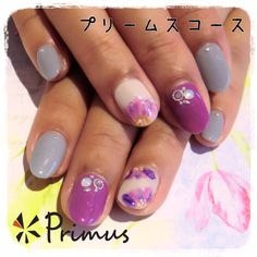 2014年秋冬のトレンドカラーを使ったフェミニンな花柄ネイル(*^^*)  プリームスコース (120min) ¥8,640(税込)