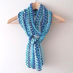 Haakpatroon sjaal,Blauw zomers sjaaltje haken, patroon trendy gehaakte sjaaltje, beginners haakpatroon sjaal, NL haakpatroon PDF formaat