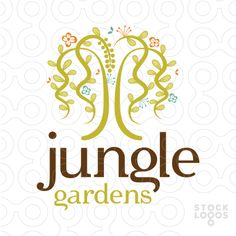 Beautiful whimsical design of a jungle tree with long flowing vines and tropical flowers added to make this logo really pop.