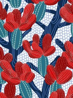 Winter Cactus Art Print by frameless - X-Small Geometric Patterns, Graphic Patterns, Textile Patterns, Textiles, Surface Pattern Design, Pattern Art, Motif Design, Art Design, Design Ideas