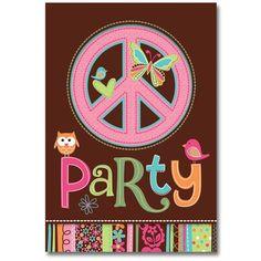 Hippie Chick Peace Invitation 8ct