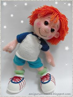 "Cute crochet boy doll. OP said ""Adapt for Sherman to go with the Mr Peabody I'm going to make!"""