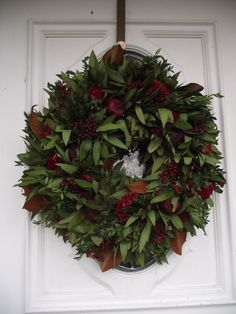 my beautiful bayleaf/magnolia wreath made by Circle Home and Design Oakville Ontario Fall Wreaths, Christmas Wreaths, Christmas Decorations, Holiday Decor, Oakville Ontario, Interior And Exterior, Interior Design, Magnolia Wreath, How To Make Wreaths