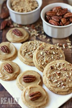 Brown Sugar Pecan Cookies  1 cup unsalted butter, softened  1/2 cup sugar  1/2 cup firmly packed brown sugar  1 egg  1 tsp vanilla  2 cups flour  1/2 tsp baking soda  1/4 tsp salt  1/2 cup finely chopped pecans  350 degrees 10-12 minutes Sugared Pecans, Pecan Cookies, Brown Sugar