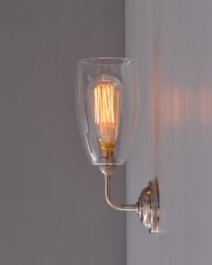 Contemporary wall light with Upton Glass Shade